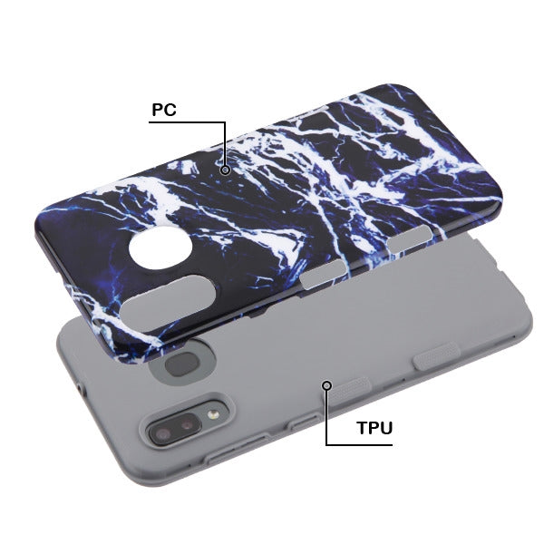 Marble Hybrid Blue Black Case Samsung A20/50 - Bling Cases.com
