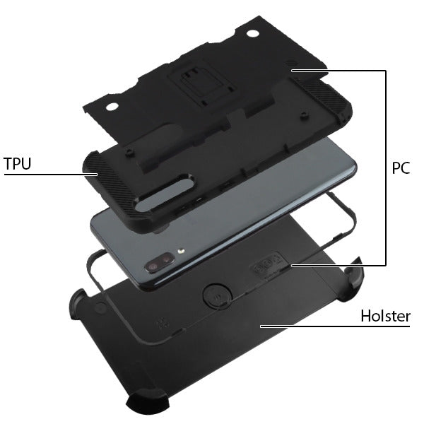 Military Grade Holster Black Case Samsung A20 - Bling Cases.com
