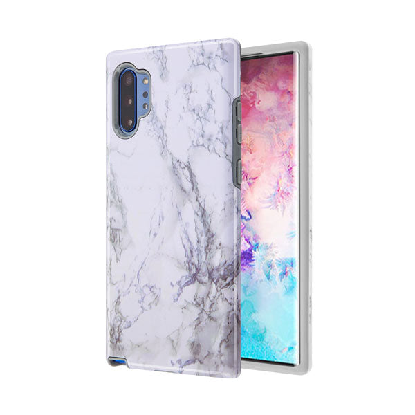 Marble Hybrid White Grey Case Note 10 Plus - Bling Cases.com