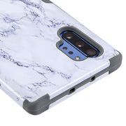 Hybrid Military Grade Marble White Note 10 Plus - Bling Cases.com