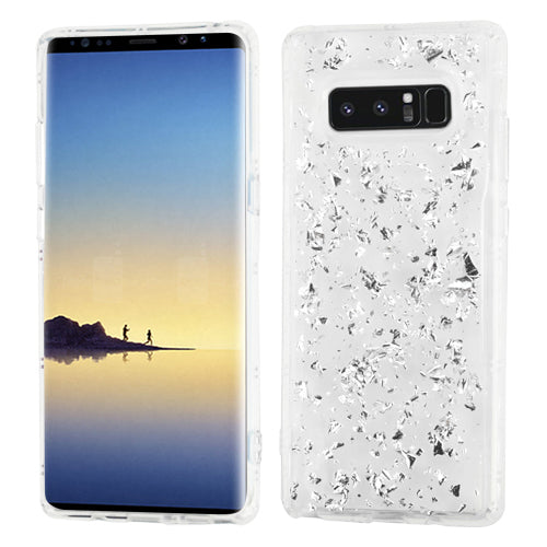 Flakes Silver Clear Skin Samsung Note 8 - Bling Cases.com