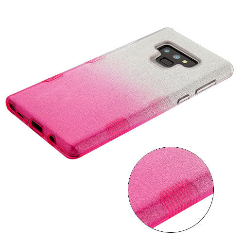 Glitter Pink Silver Samsung Note 9 - Bling Cases.com