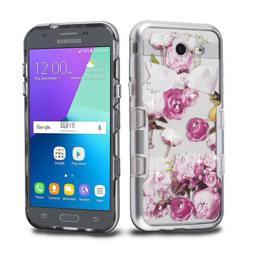 Bling Flowers Purple Silver Case J3 2017 - Bling Cases.com