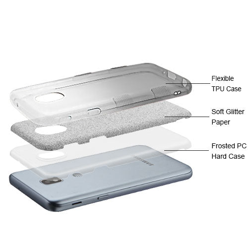 Glitter Black Silver Case J3 2018 - Bling Cases.com