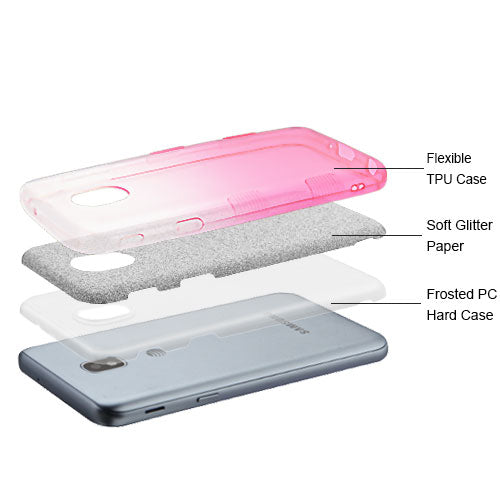 Glitter Hot Pink Silver Case J3 2018 - Bling Cases.com