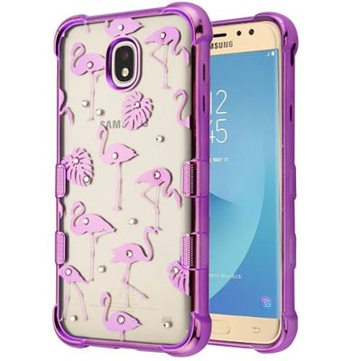 Flamingos Purple Clear Skin J7 2018 - Bling Cases.com