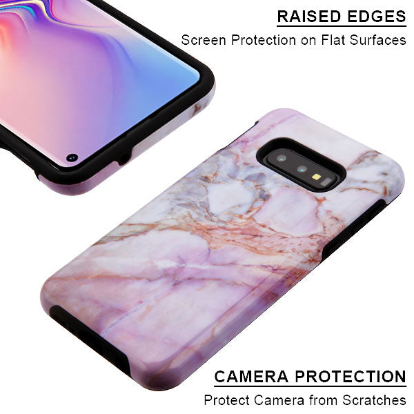 Marble Hybrid Purple Peach Samsung S10E - Bling Cases.com