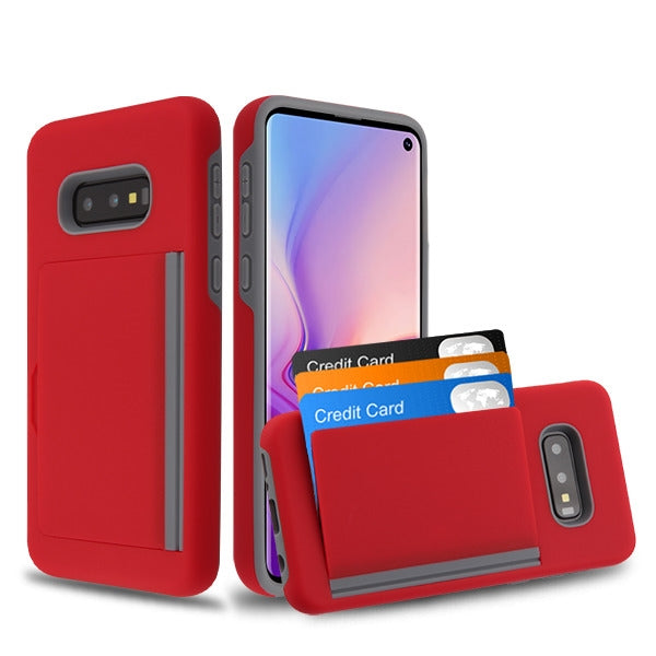 Hybrid Card Case Red Samsung S10E - Bling Cases.com