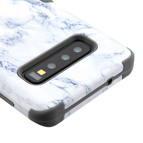 Military Grade Marble White Case Samsung S10 - Bling Cases.com