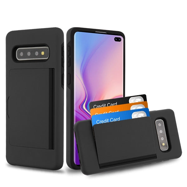 Hybrid Card Case Black Samsung S10 Plus - Bling Cases.com