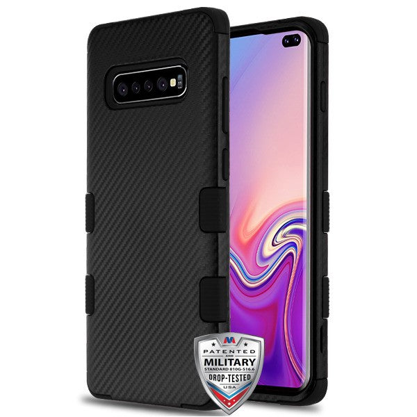 Military Grade Carbon Fiber Black Samsung S10 - Bling Cases.com