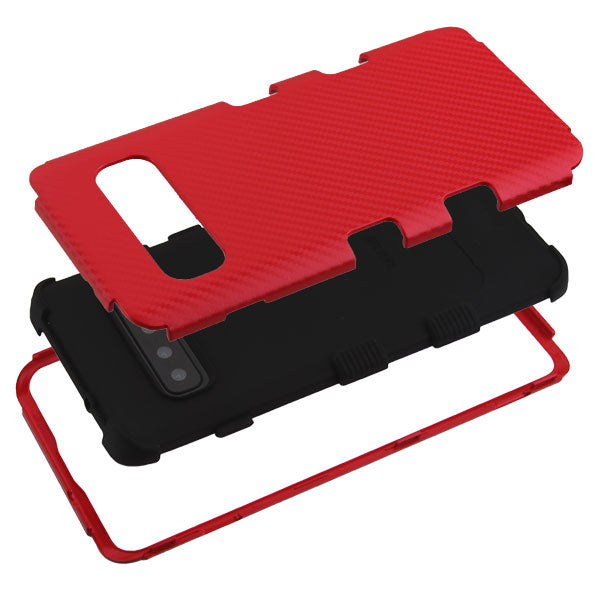 Military Grade Carbon Fiber Red Samsung S10 Plus - Bling Cases.com