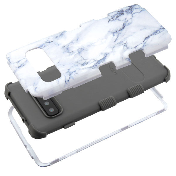 Military Grade Marble White Samsung S10 Plus - Bling Cases.com
