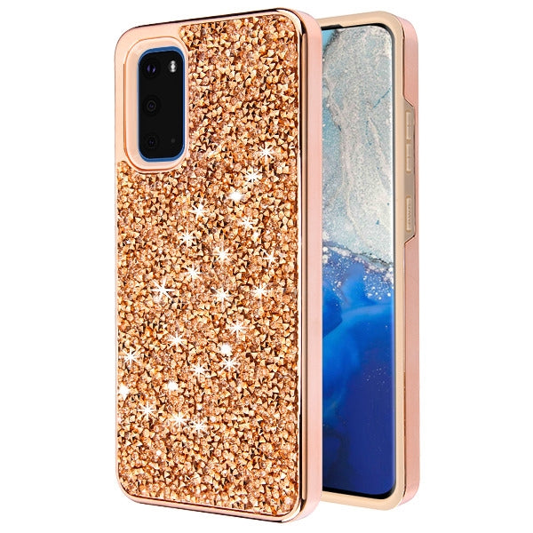 Hybrid Bling Rose Gold Samsung S20 - Bling Cases.com
