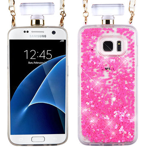 Liquid Hearts Pink Bottle Samsung S7 Edge - Bling Cases.com