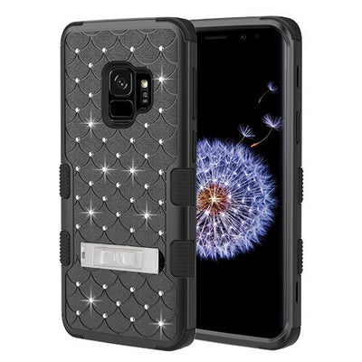 Bling Hybrid Kickstand Case Black Samsung S9 - Bling Cases.com