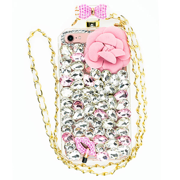Handmade Pink Flower Bling Bottle Iphone 7/8