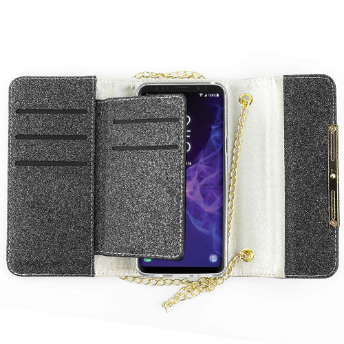 Glitter Detachable Purse Black S9