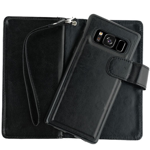 Handmade Bling Black Wallet Detachable S8 Plus