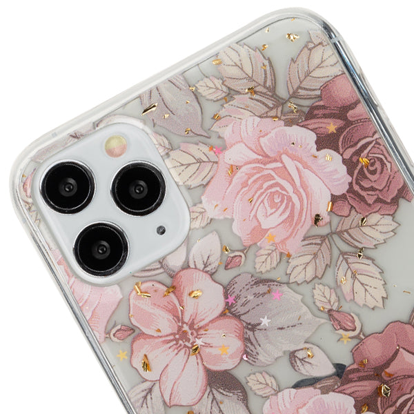 Pink Flowers Gold Flakes Case iphone 11 Pro Max