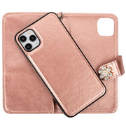Handmade Detachable Bling Fox Rose Gold Wallet  IPhone 12/12 Pro