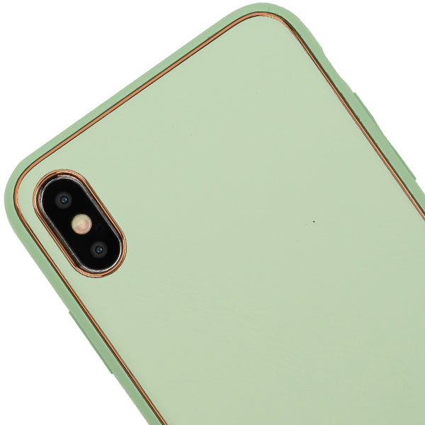 Leather Style Mint Green Gold Case Iphone 10