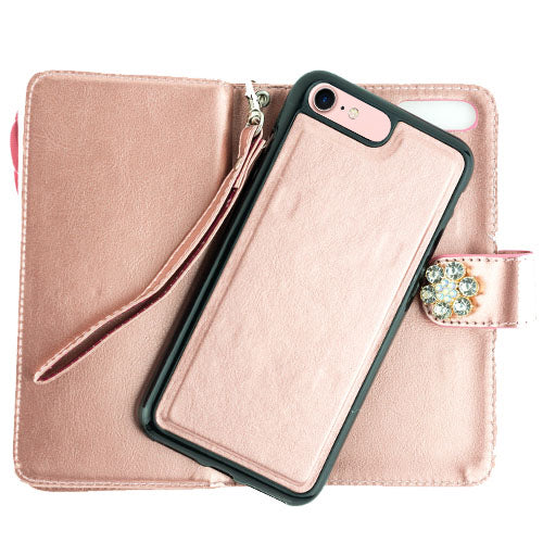 Handmade Flower Bling Detachable Wallet Iphone 7/8