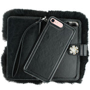 Fur Black Detachable Wallet Iphone 7/8