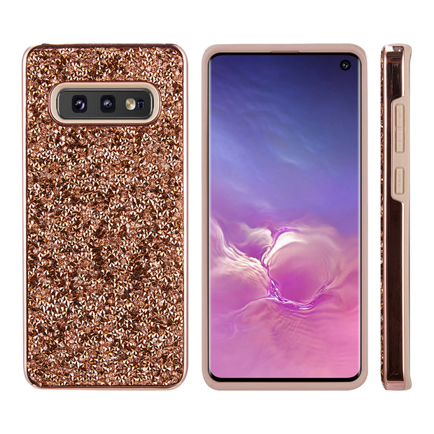 Hybrid Bling Rose Gold Samsung S10E - Bling Cases.com