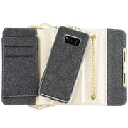 Glitter Detachable Purse Black Samsung S8 Plus - Bling Cases.com