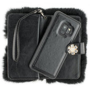 Fur Detachable Wallet Black Samsung S9 - Bling Cases.com