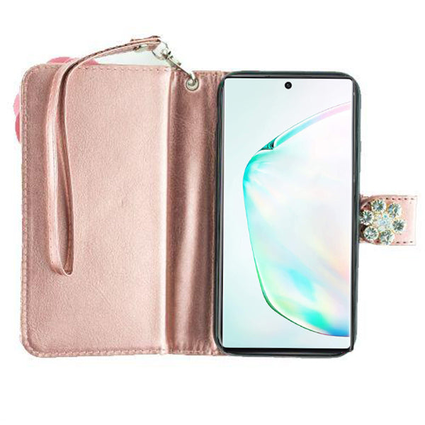 Handmade Pink Flower Bling Wallet Note 10 Plus