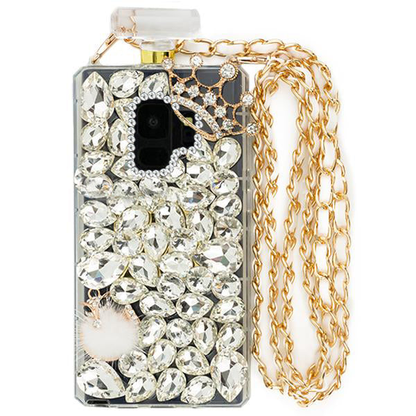 Handmade Silver Fox Bling Bottle Samsung S9 Plus