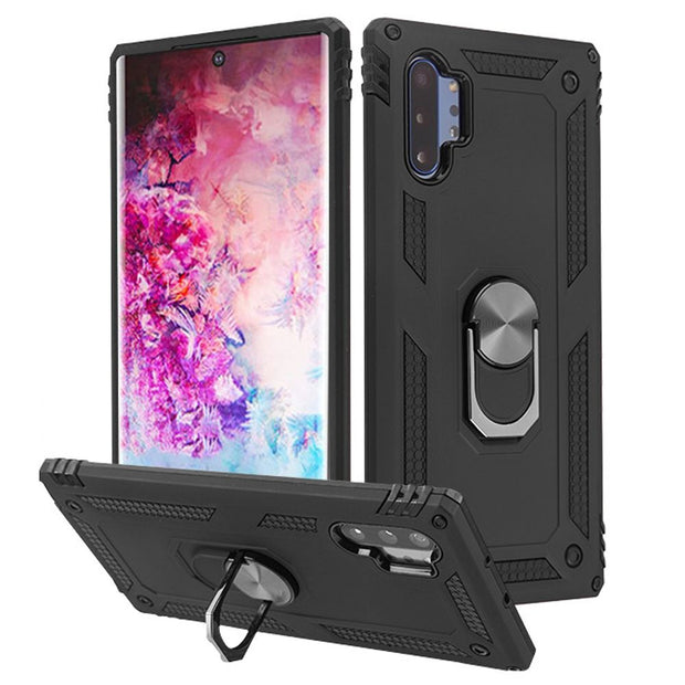 Hybrid Ring Stand Case Black Note 10 Plus - Bling Cases.com