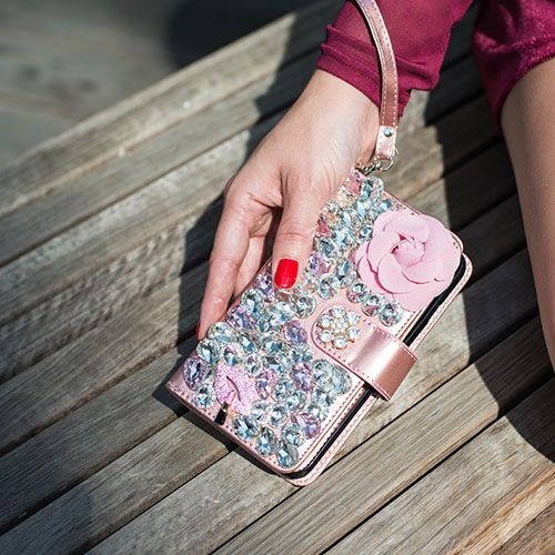 Handmade Pink Flower Bling Wallet Iphone 10/X/XS - Bling Cases.com