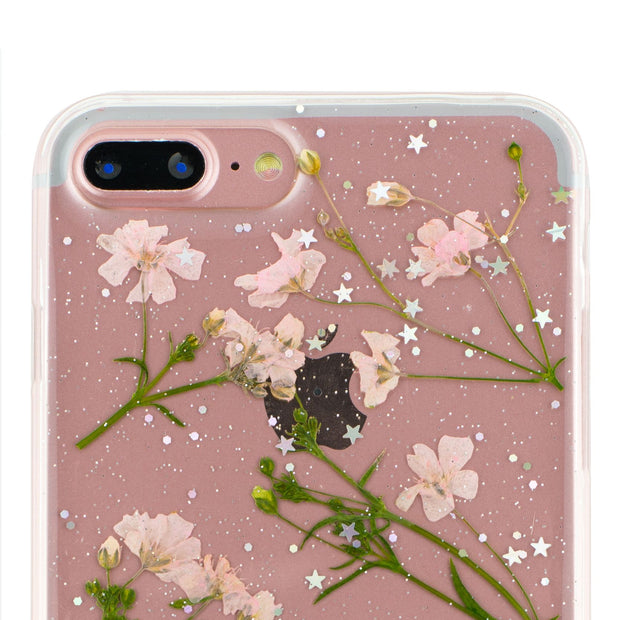 Real Flowers Pink Green Leaves Iphone 7/8 Plus - Bling Cases.com