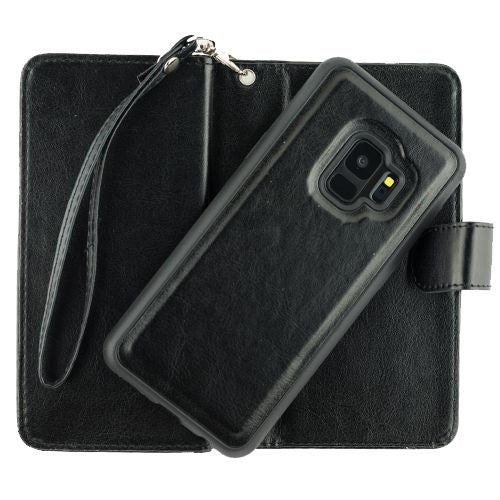 Handmade Black Bling Wallet Detachable Samsung S9