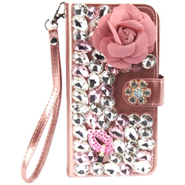Handmade Detachable Bling Pink Flower Wallet iphone 11 Pro