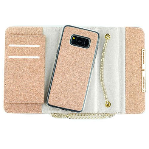Glitter Detachable Purse Rose Gold Samsung S8 Plus - Bling Cases.com