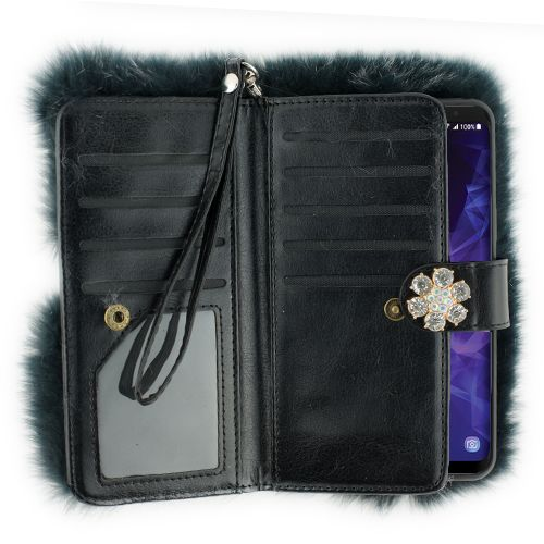 Fur Detachable Wallet Grey Samsung S9 Plus - Bling Cases.com