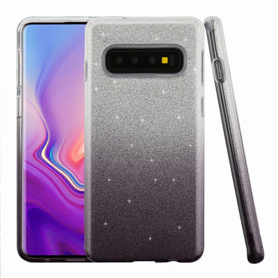 Glitter Black Silver Case Samsung S10 Plus - Bling Cases.com