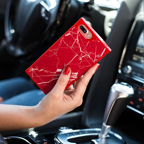 Marble Square Red Case Iphone 10/X/XS - Bling Cases.com