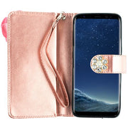Pink Flower Bling Detachable Wallet Samsung S8 Plus - Bling Cases.com