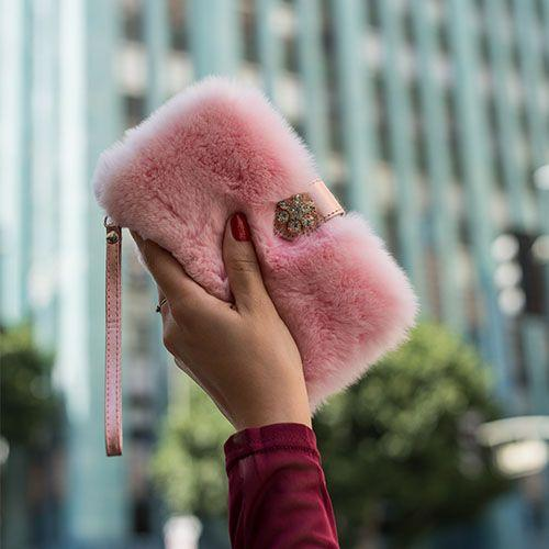 Fur Detachable Wallet Pink Iphone XS Max