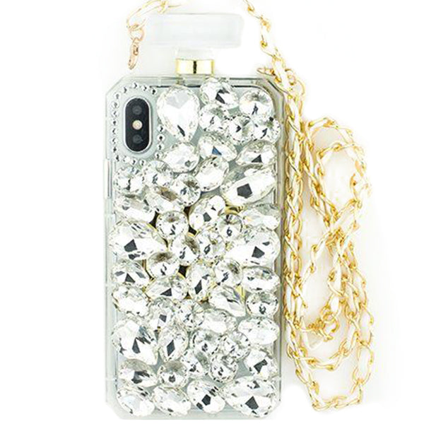 Handmade Silver Stone Bling Bottle Iphone XS MAX