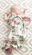 Load image into Gallery viewer, Beige Floral Swaddling Blanket