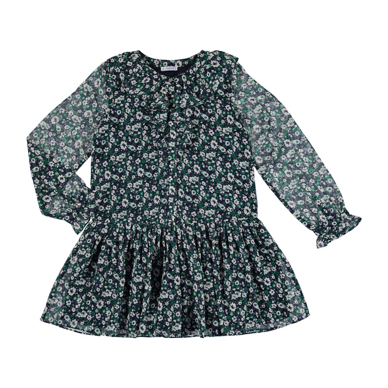 Navy & Green Floral Dress