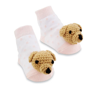 Pink Dog Rattle Toe Socks