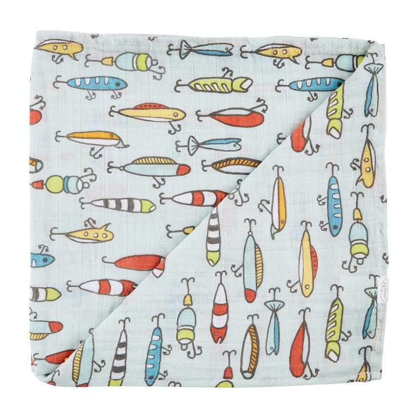 Fishing Lure Muslin Swaddle Blanket