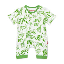 Load image into Gallery viewer, Green Avant Gardimals Organic Magnetic Romper